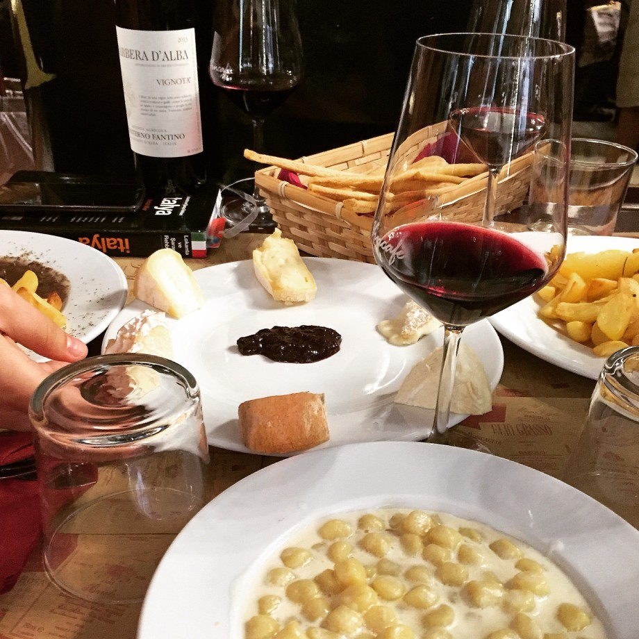 A winter lunch with fellow cooking school classmates in the city of Alba in Piedmont last year.